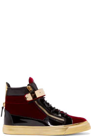 Giuseppe Zanotti - Black & Red Velvet London High-Top Sneakers