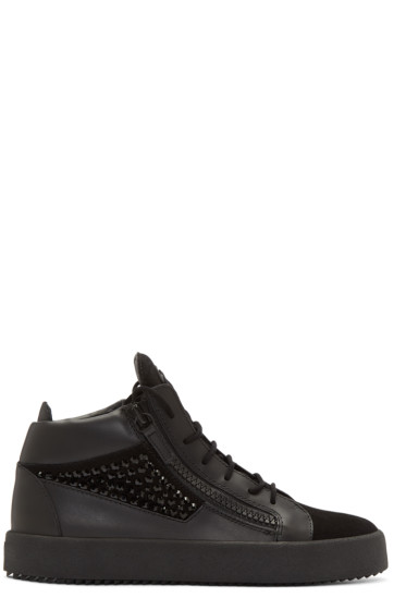 Giuseppe Zanotti - Black Studded London High-Top Sneakers