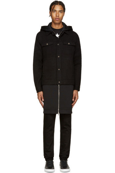 Givenchy - Black Wool Layered Coat
