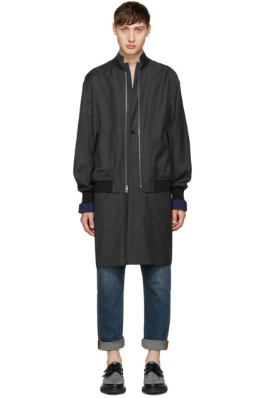 3.1 Phillip Lim - Grey Layered Bomber Jacket