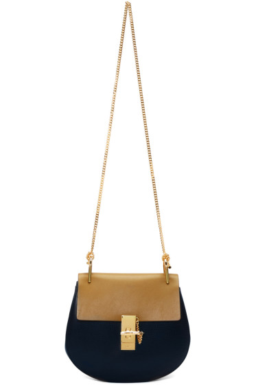Chloé - Navy & Brown Small Drew Bag