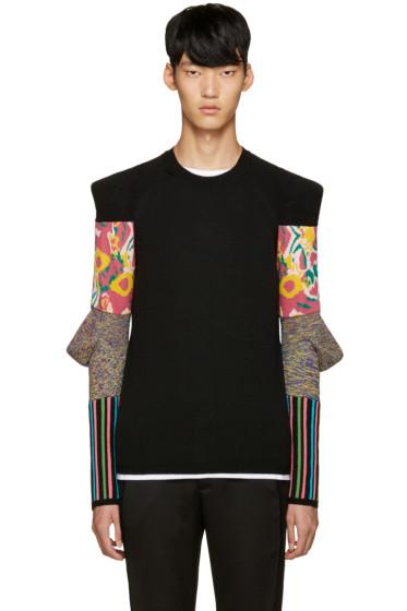 Comme des Garçons Homme Plus - Black Padded Sleeves Floral Sweater