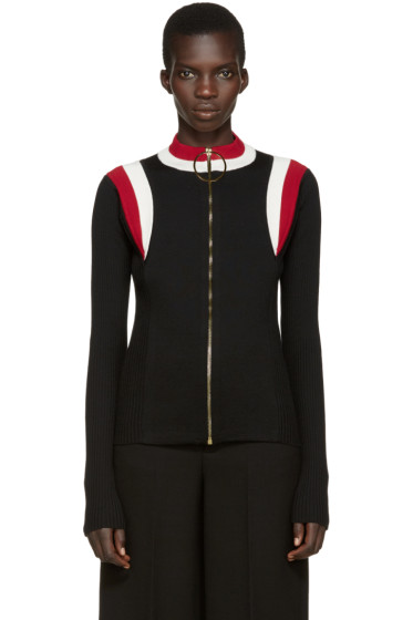 Marni - Black Mock Neck Zip-Up Sweater