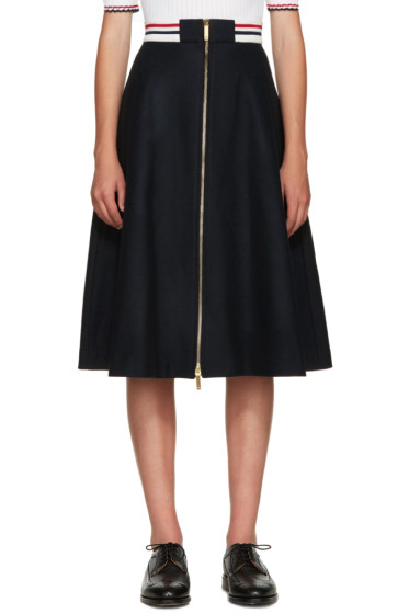 Thom Browne - Navy Wool Varsity Skirt
