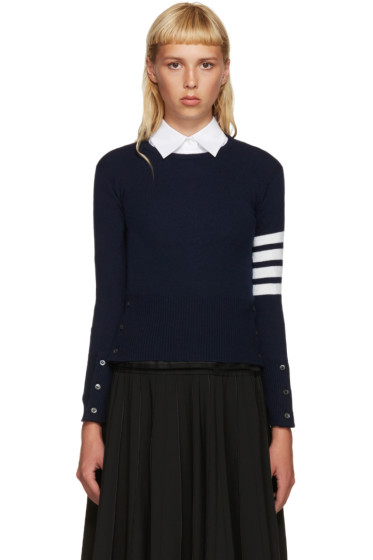 Thom Browne - Navy Cashmere Classic Pullover