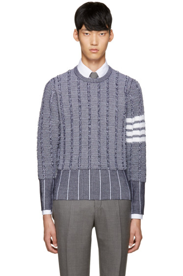 Thom Browne - Navy Wool Oxford Sweater
