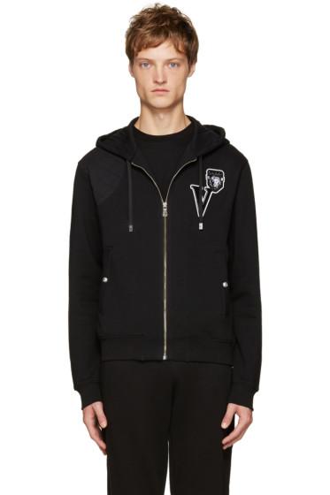 Versus - Black Embroidered Logo Zip Hoodie