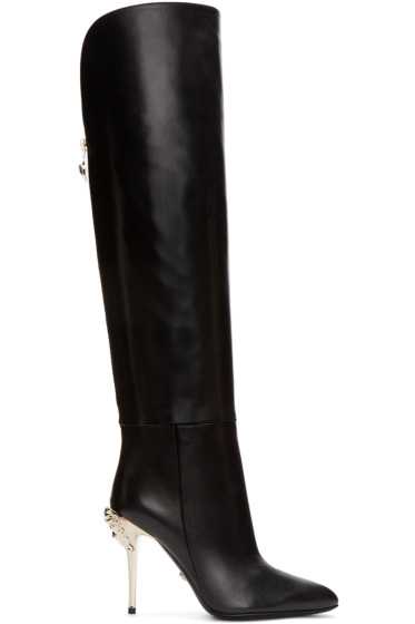 Versace - Black Knee-High Medusa Boots