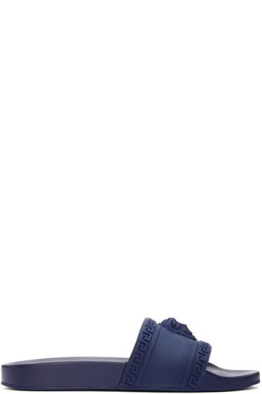 Versace - Navy Medusa Slip-On Sandals
