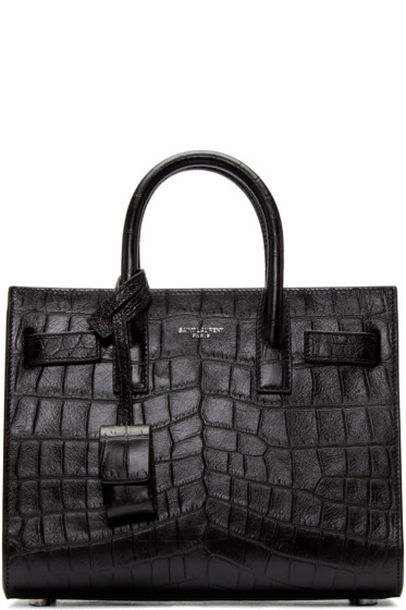 Saint Laurent - Black Croc-Embossed Nano Sac de Jour Bag