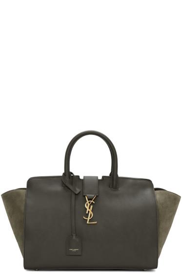 Saint Laurent - Brown & Green Small Cabas Monogram Bag