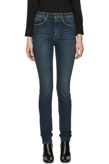 Saint Laurent - Blue High-Rise Skinny Jeans