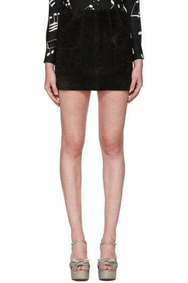 Saint Laurent - Black Calf Suede Miniskirt