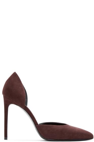 Saint Laurent - Burgundy Suede Paris Skinny D'Orsay Heels