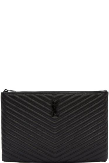 Saint Laurent - Black Quilted Leather Document Holder