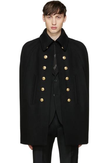 Saint Laurent - Black Wool Officer Cape