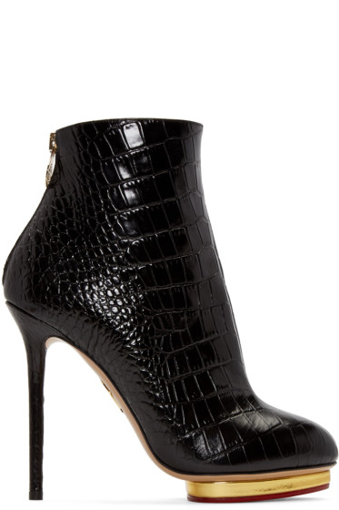 Charlotte Olympia - Black Croc-Embossed Doreen Boots