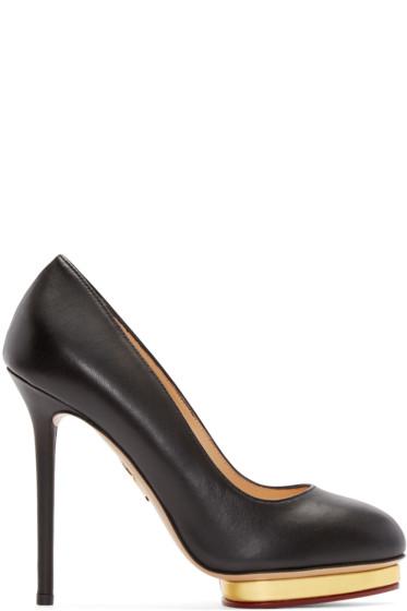 Charlotte Olympia - Black Leather Dotty Heels