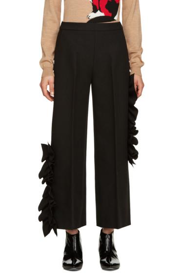 MSGM - Black Wide-Leg Ruffle Trousers