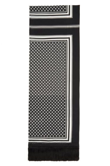 Sacai - Black & White Printed Scarf