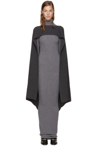 Stella McCartney - Grey Ribbed Poncho Scarf