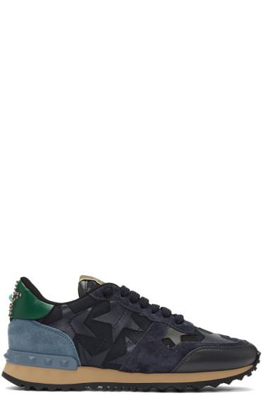 Valentino - Navy Star Rockrunner Sneakers