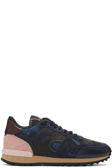 Valentino - Navy Denim Camo Rockrunner Sneakers