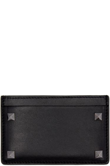 Valentino - Black Leather Rockstud Card Holder