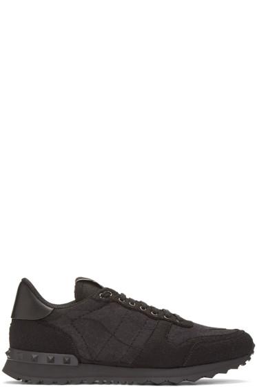 Valentino - Black Felt Camo Rockrunner Sneakers