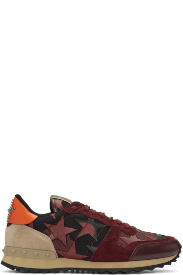 Valentino - Burgundy Camustars Rockrunner Sneakers