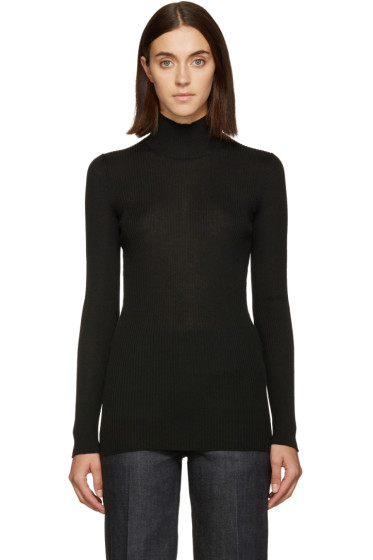 Calvin Klein Collection - Black Ribbed Cocciolone Sweater