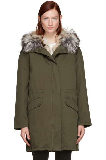 Army by Yves Salomon - Green Fur-Lined Parka