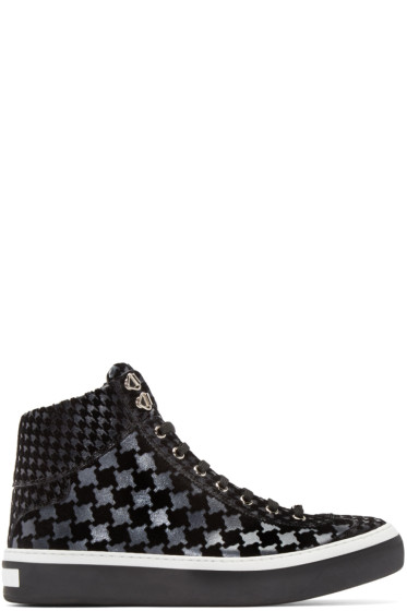 Jimmy Choo - Black Houndtooth Argyle High-Top Sneakers