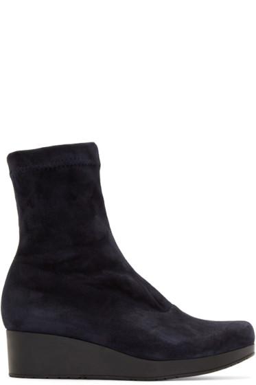 Robert Clergerie - Navy Suede Nerdall Sock Boots