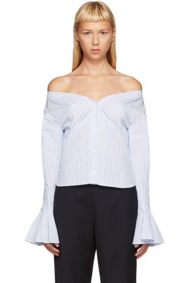 Jacquemus - Blue & White Off-the-Shoulder Shirt