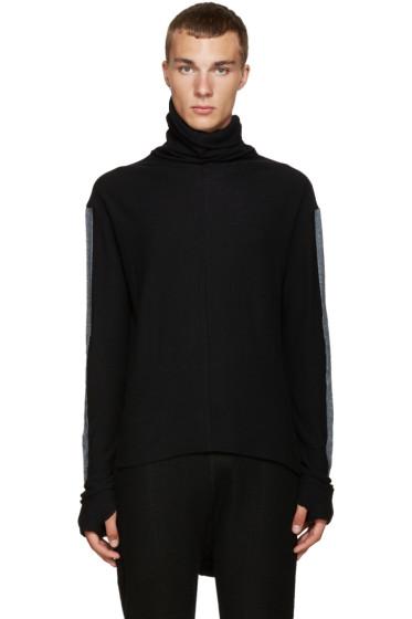 Nude:mm - Black Contrast Sleeve Turtleneck