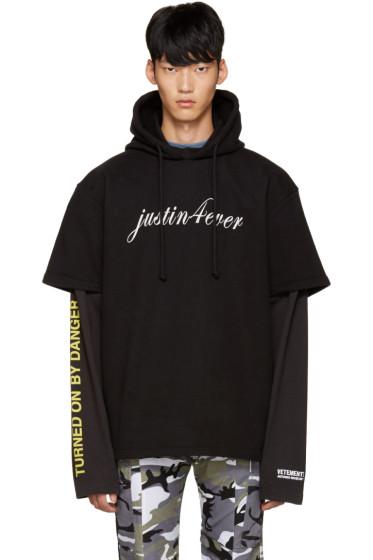 Vetements - Black 'Justin Forever' Double Sleeve Hoodie