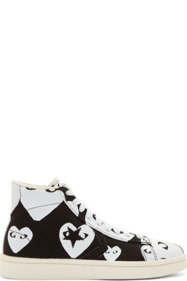 Comme des Garçons Play - Black & White Heart Print Converse Edition High-Top Sneakers
