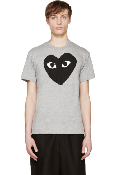 Comme des Garçons Play - Heather & Black Heart Logo T-Shirt