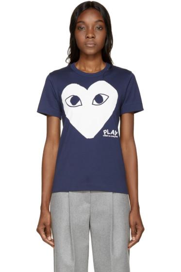 Comme des Garçons Play - Navy Heart T-Shirt