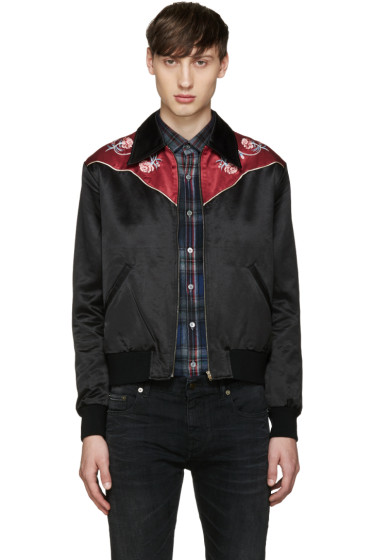 Saint Laurent - Black Rose Teddy Jacket