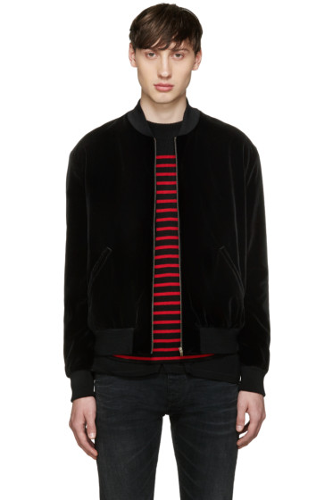Saint Laurent - Black Studded Velvet Bomber Jacket
