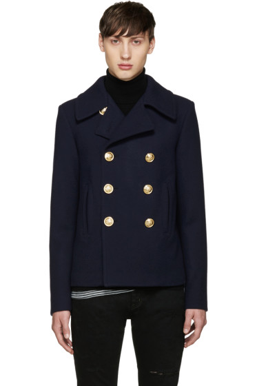 Saint Laurent - Navy Double-Breasted Pea Coat