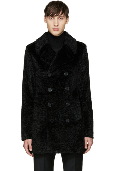 Saint Laurent - Black Faux-Fur Peacoat