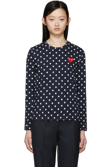 Comme des Garçons Play - Navy Polka Dot Heart Patch T-Shirt