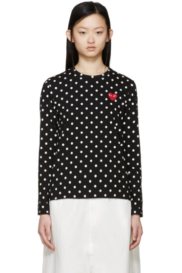 Comme des Garçons Play - Black Polka Dot Heart Patch T-Shirt