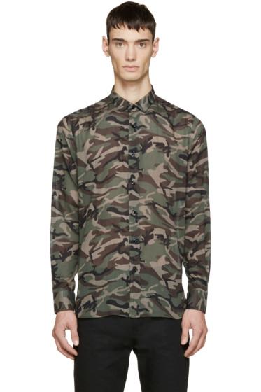 Saint Laurent - Brown & Green Camouflage Shirt