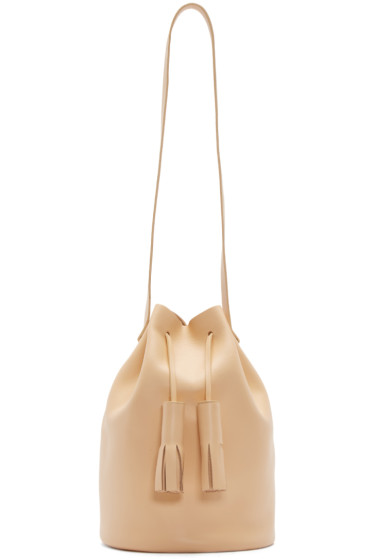 Building Block - Beige Leather Tassel Bucket Bag