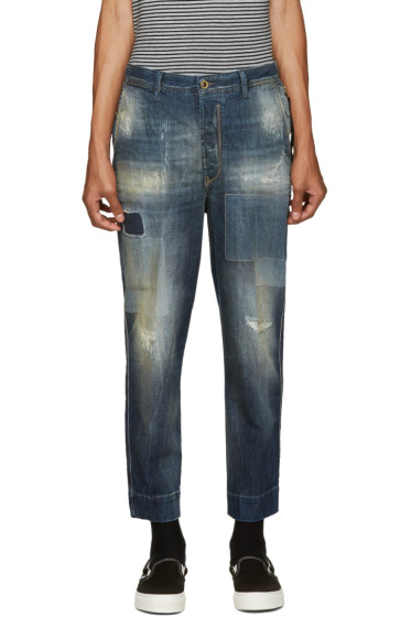 Diesel - Blue Distressed Carrot Chino Jeans