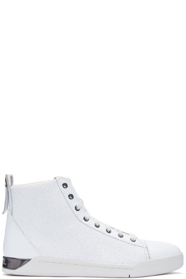Diesel - White Pebbled Diamond High-Top Sneakers